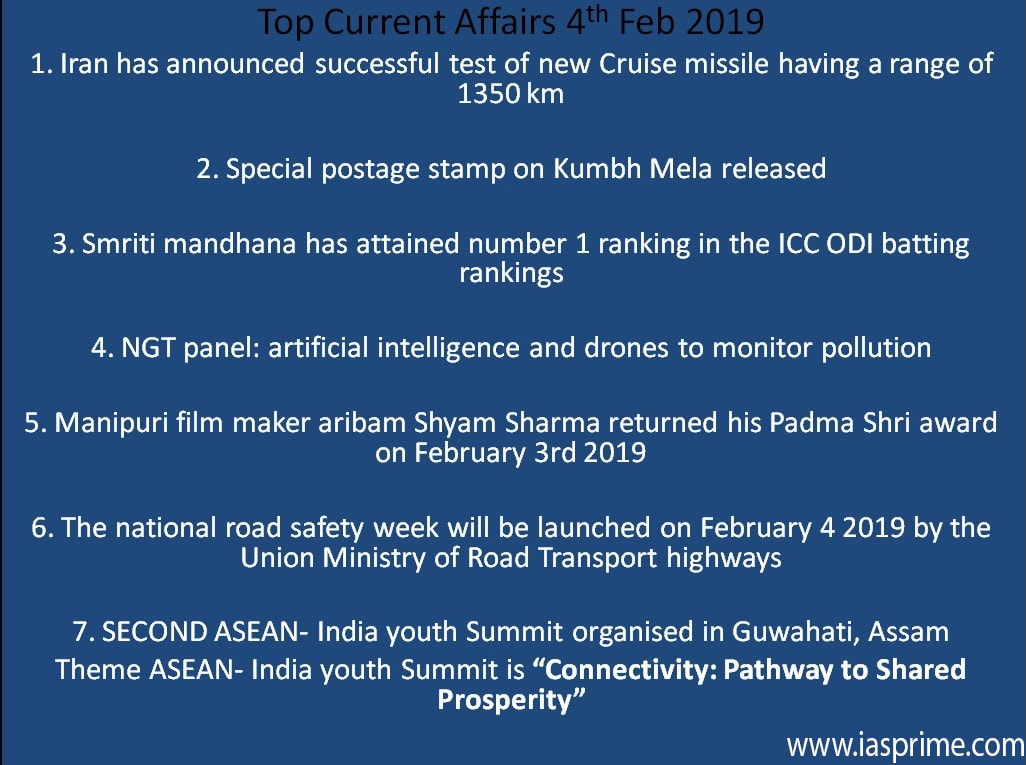 Top Current Affairs of February 1-4 in short- Prelims-2019
