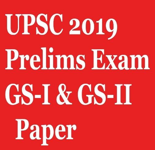 UPSC Prelims GS paper 2019