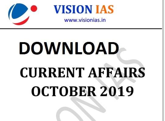 Vision IAS Current Affairs october 2019 pdf