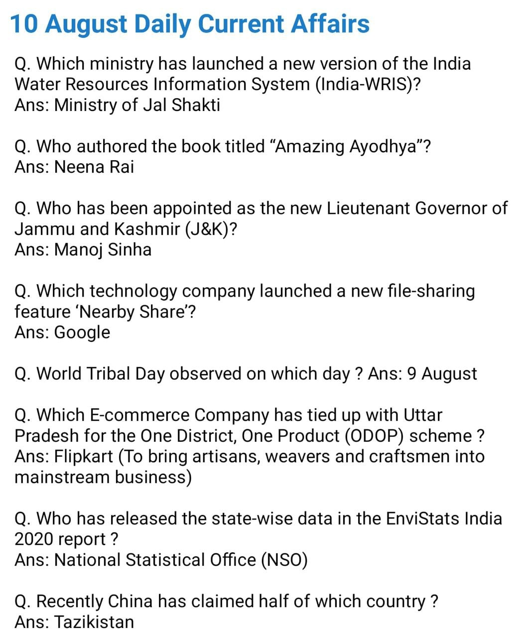 Daily Current Affairs 10 August 2020