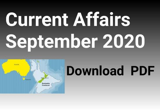 Current Affairs September 2020 PDF
